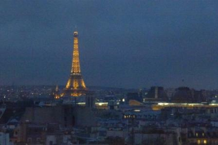 View of the Eiffer Tower from the viewing platform on top of Pompidou Centre