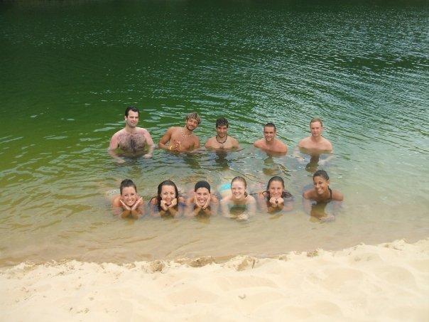 Celebrating my birthday on Fraser Island with friends made on the Greyhound