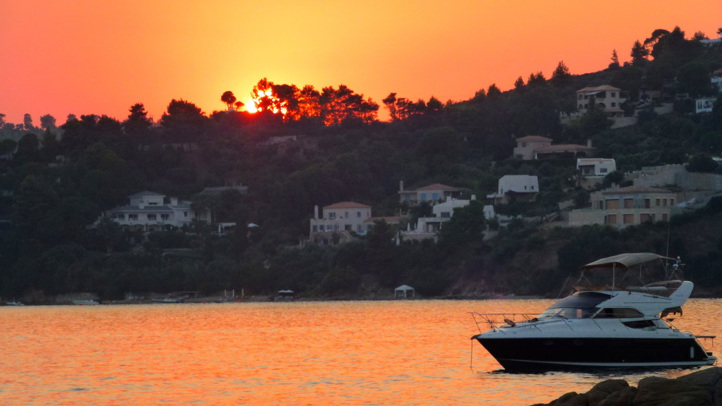 Sunset at Vromolimnos Beach Skiathos