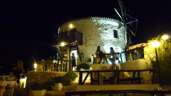 Dining in a windmill in Skiathos