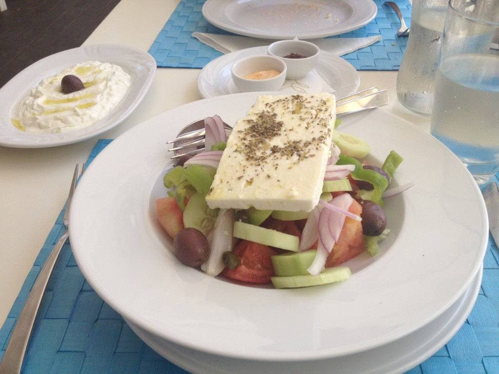 Greek Salad at PR Ammos Restaurant - one of the best restaurants in Skiathos