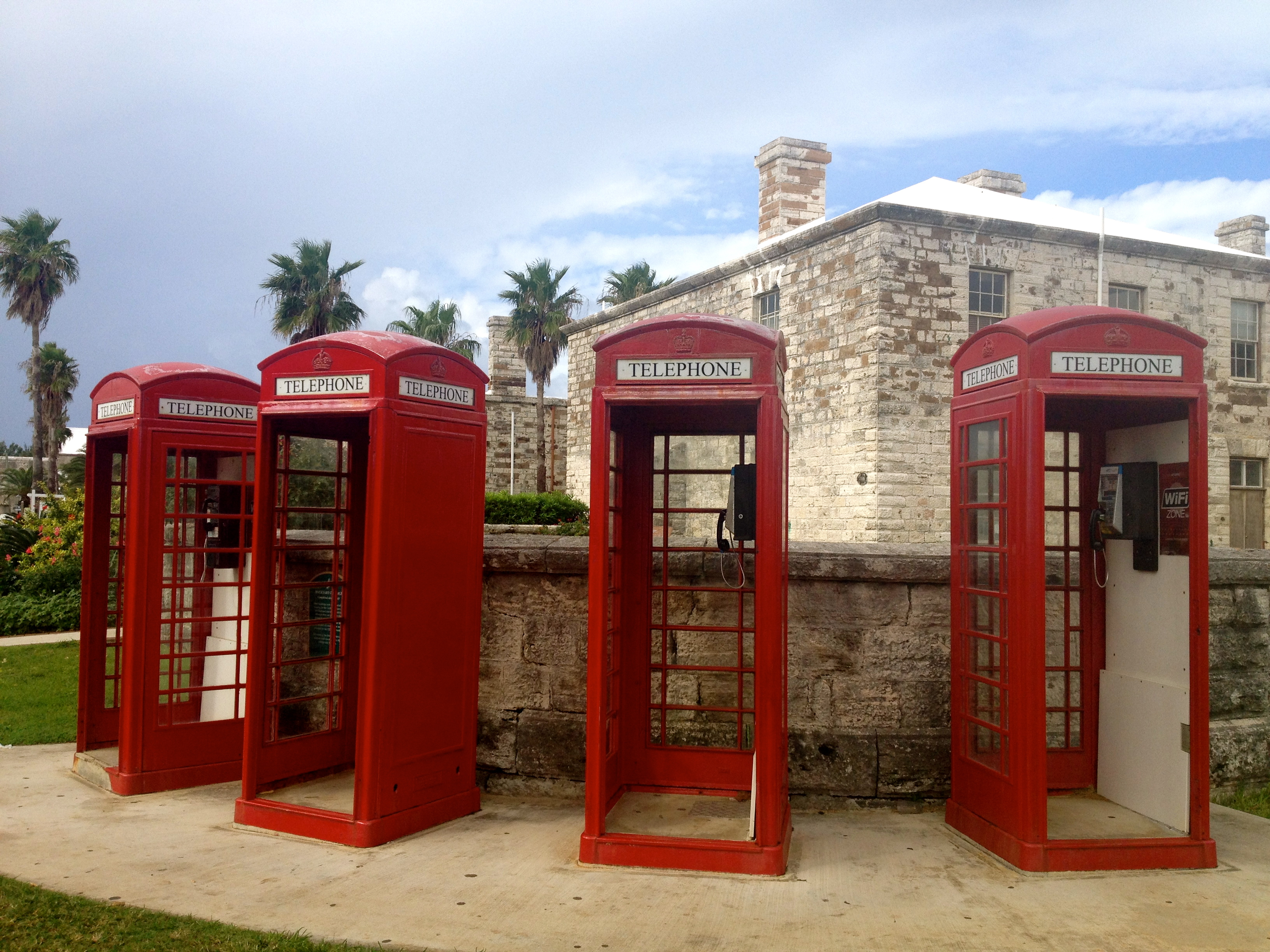 Telephone boxes in Royal Naval Dockyard