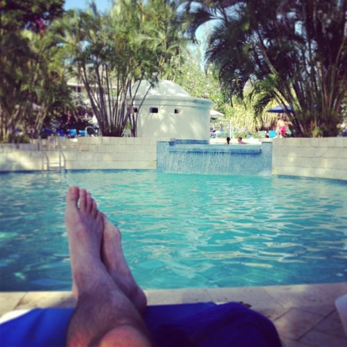 Matt from Travel with a Mate chilling by the pool