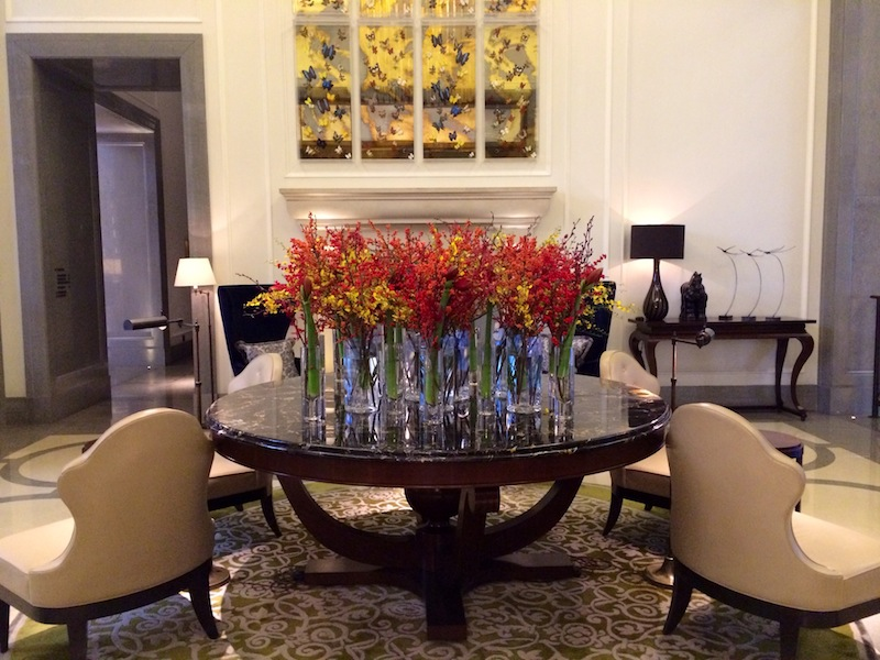 Artwork and floral perfection in the lobby at The Corinthia London
