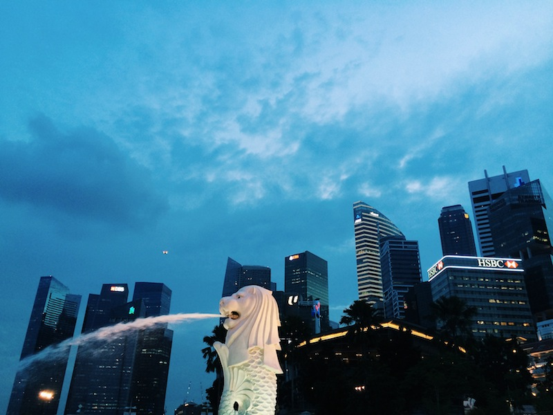 The lion head symbol of Singapore
