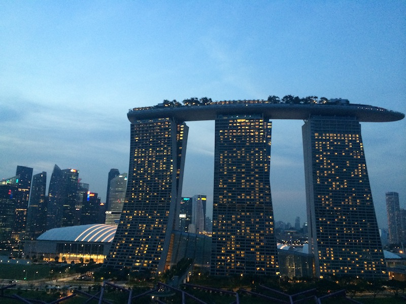 View of the staggering Marina Bay Sands resort from IndoChine Cafe