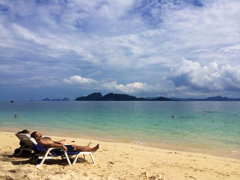 Guests soak up the rays at the Anantara Beach Club on Ko Kradan