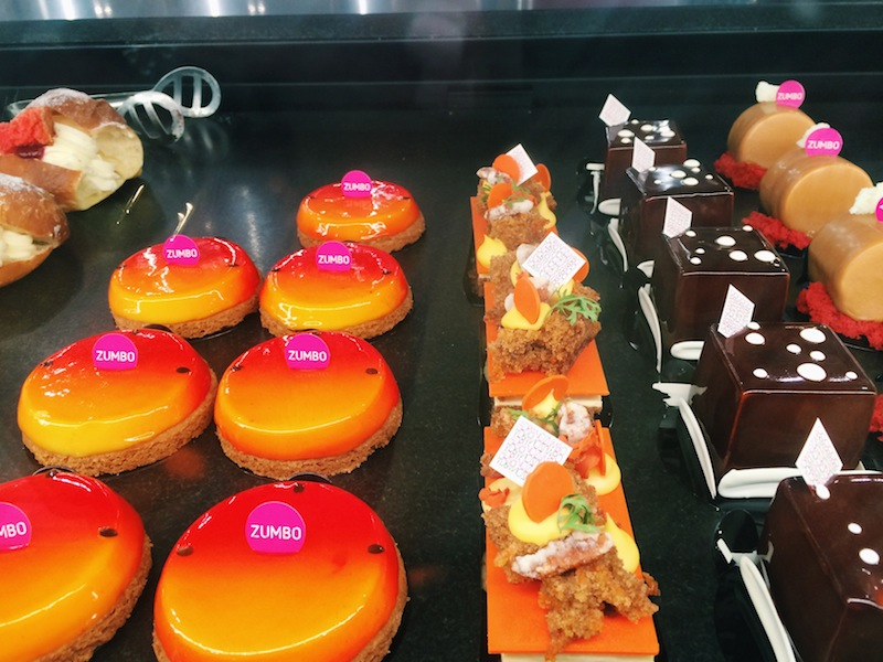 Brightly coloured tarts at Zumbo in The Emporium