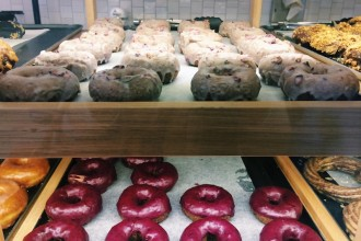 Freshly baked donuts at Shortstop Coffee & Donuts