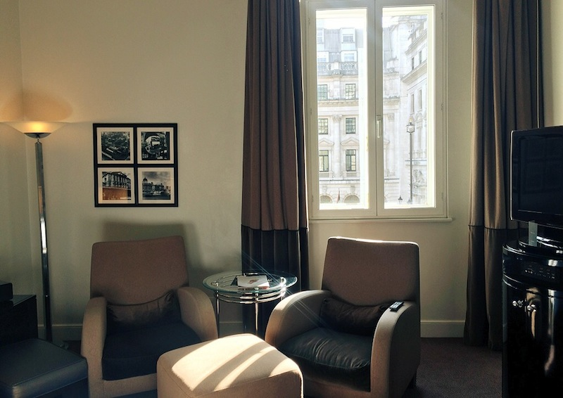 The luxury rooms have great views of London architecture