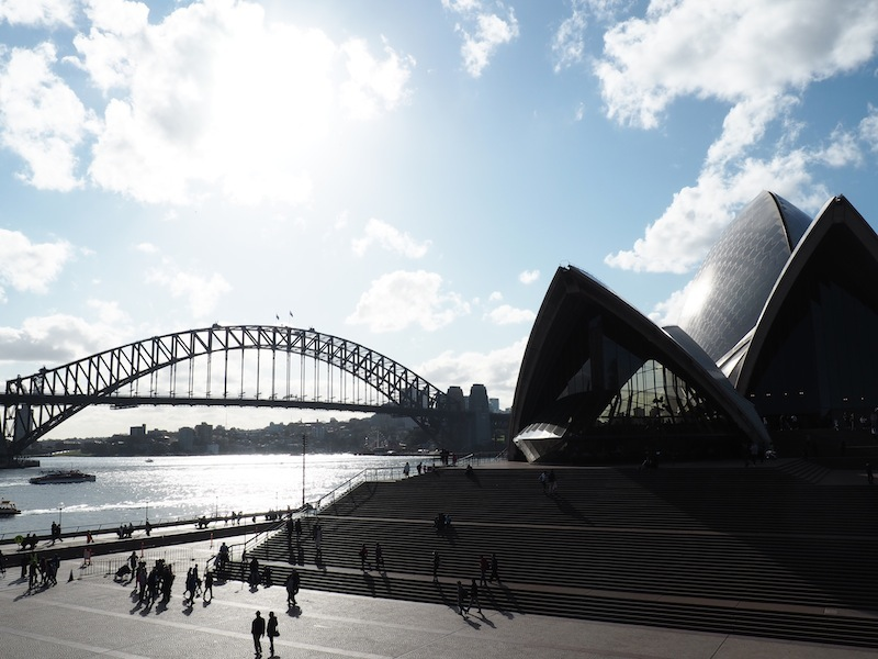 Sydney Opera House & Harbour Bridge (taken from the steps leading down from the Botanical Gardens)