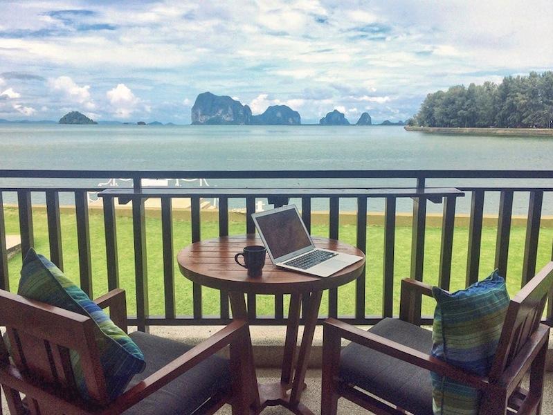 A temporary office at Anantara Si Kao, Thailand