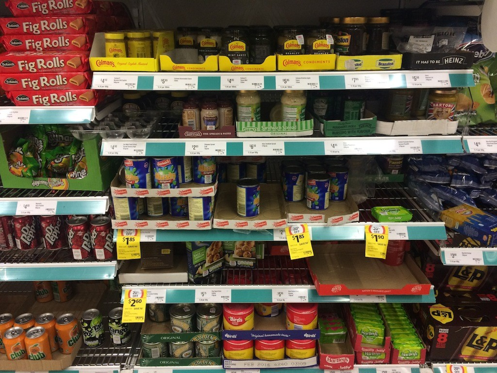 The 'British' aisle at Coles - we have Birds custard and everything!