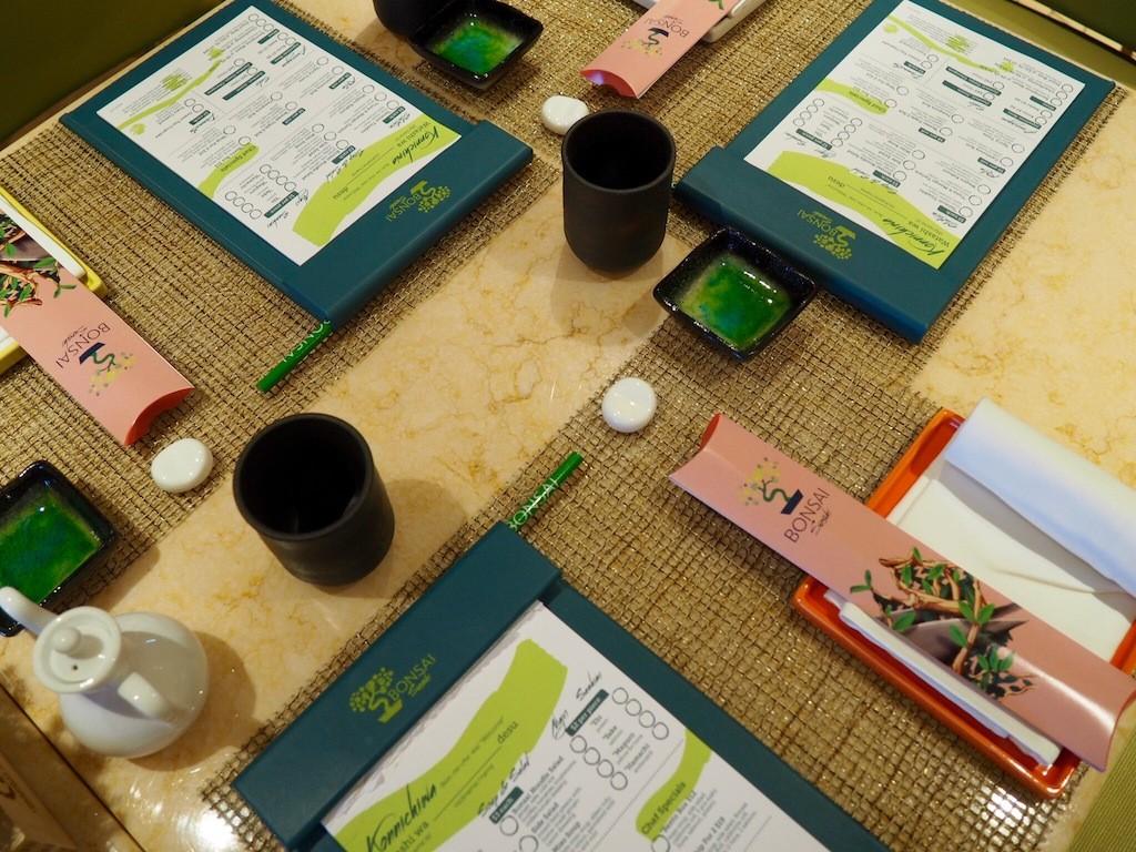 Perfectly laid table at Bonsai Sushi