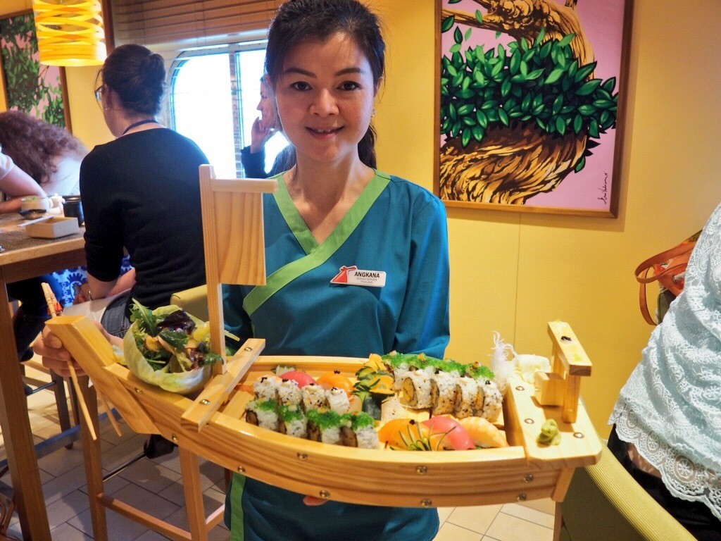 Sushi on a boat, on a ship! The servers were incredibly sweet too.
