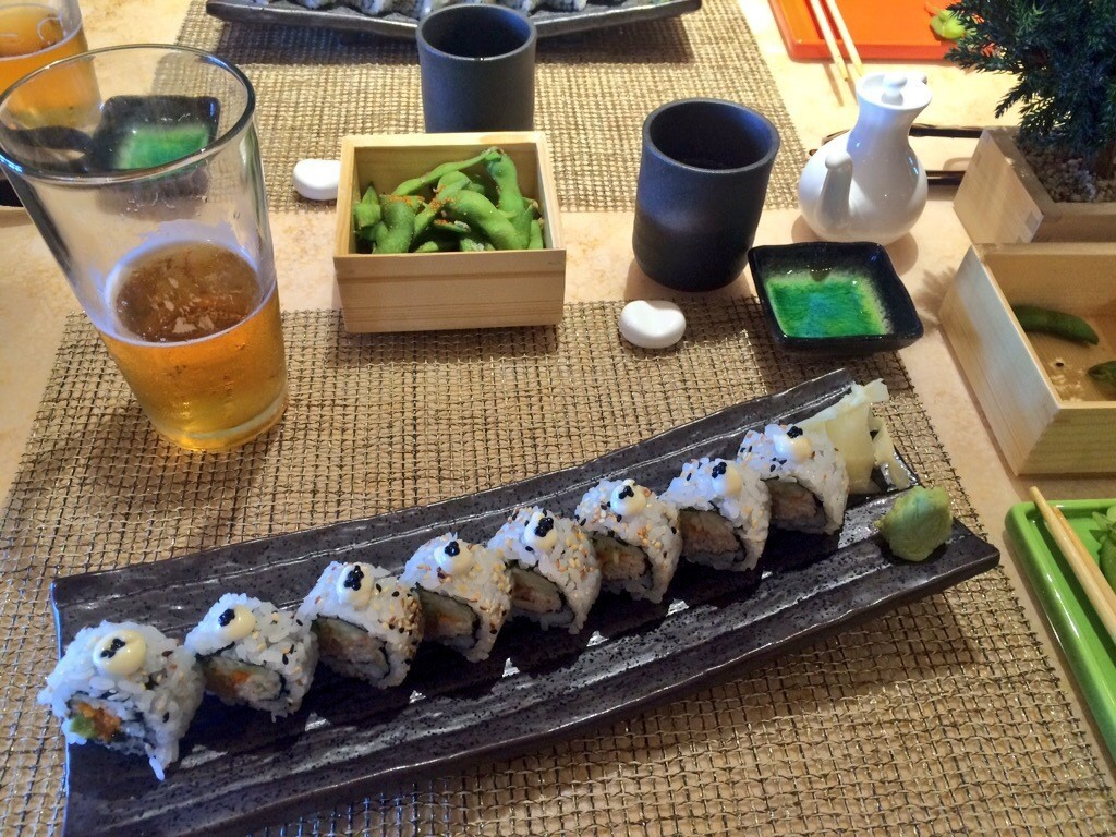 One of the very generous sized sushi rolls