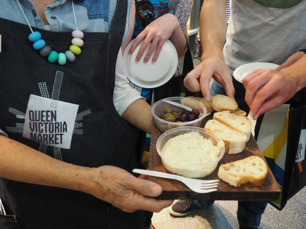 Our first taster on the tour involves sourdough bread, olives and tapioca dip (yum!)