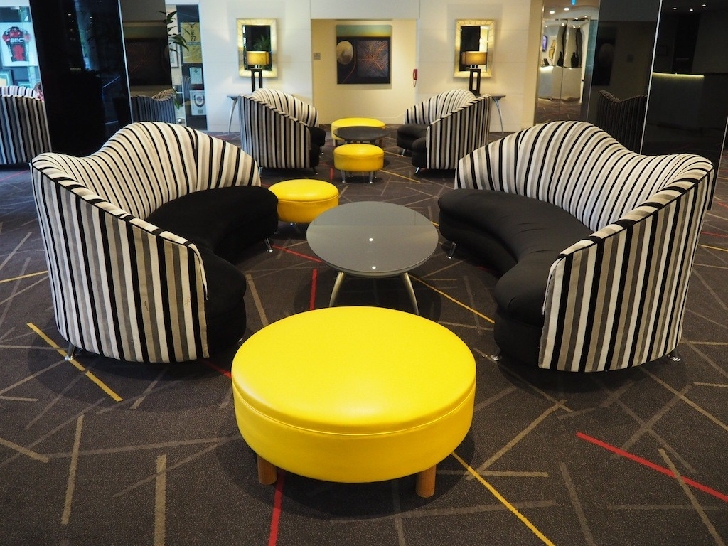 Funky furniture in the lobby at Radisson on Flagstaff Gardens