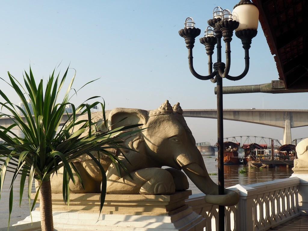Elephants watch over the Riverside Terrace.