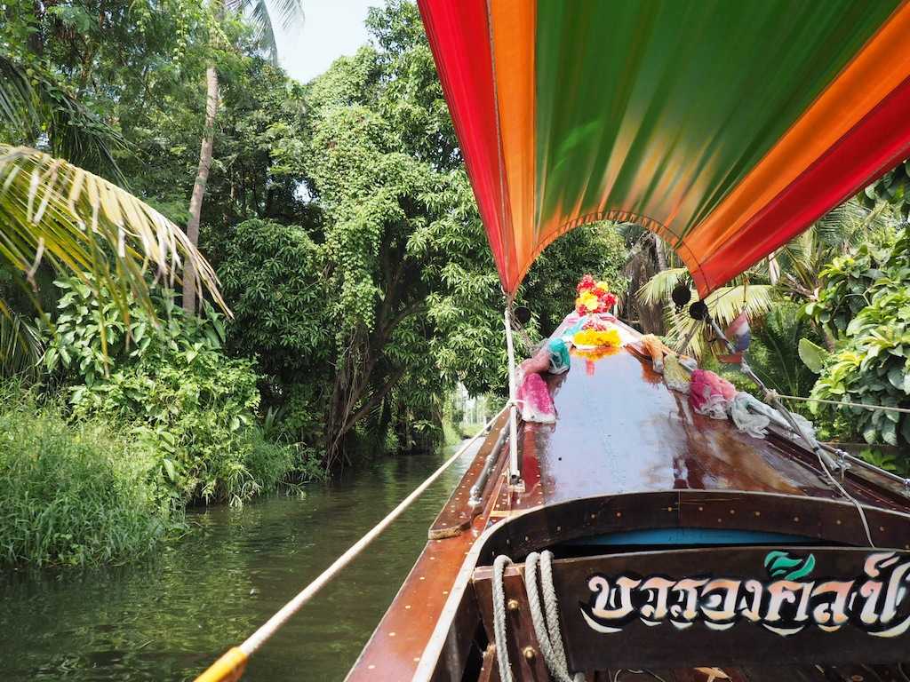 Longtail boat ride to floating market