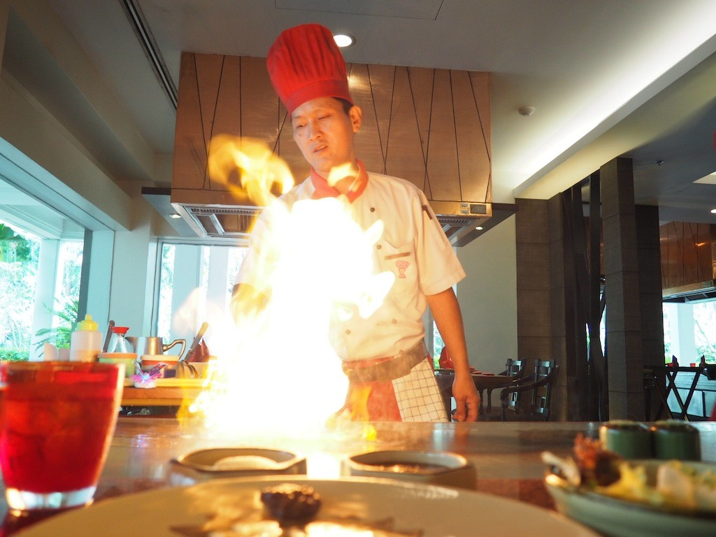 The chef puts on a performance at Benihana