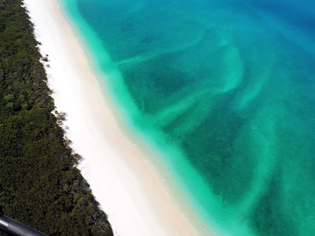 Flying over Whitehaven Beach in the Whitsundays