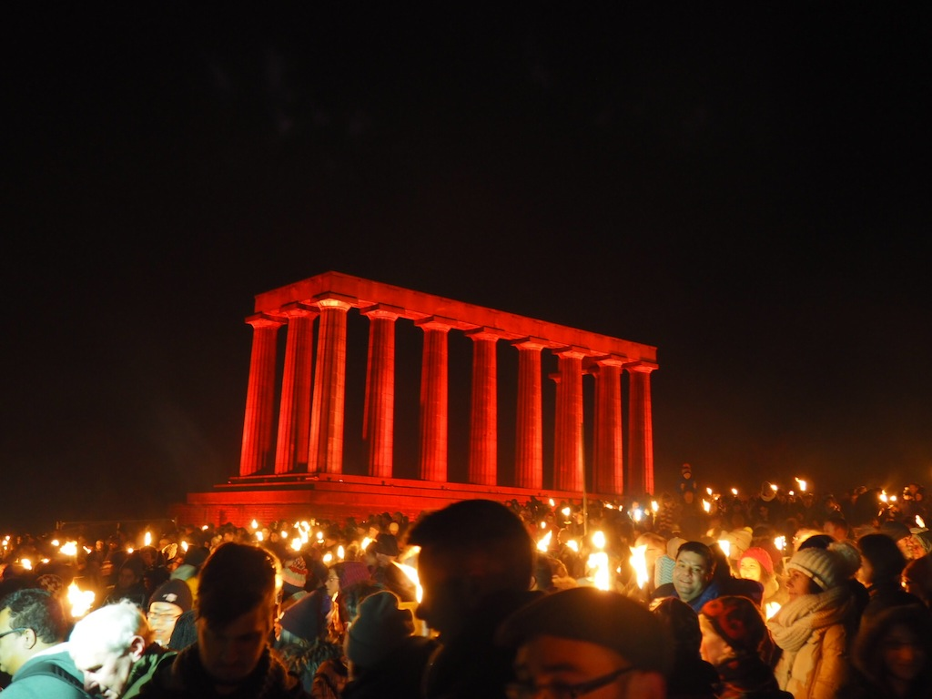 The processions ends on Calton Hill with a bonfire and fireworks