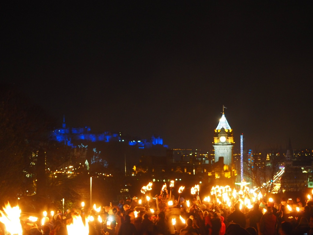 The procession lights the streets of Edinburgh