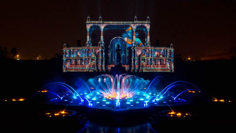 Water show at Akshardham Temple