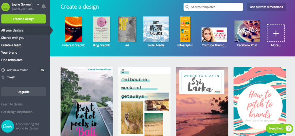 Best blogging tools - Canva