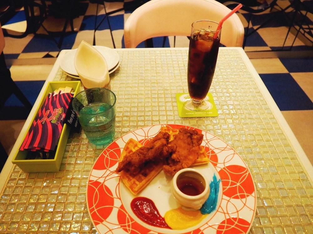 Chicken and waffles at Kawaii Monster Cafe Tokyo