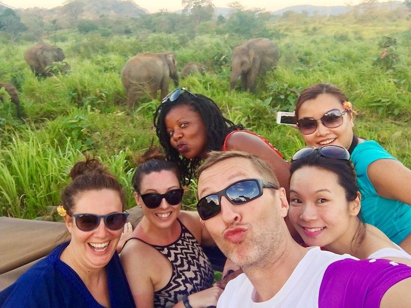 Travel blogger selfie on safari - an elephie?