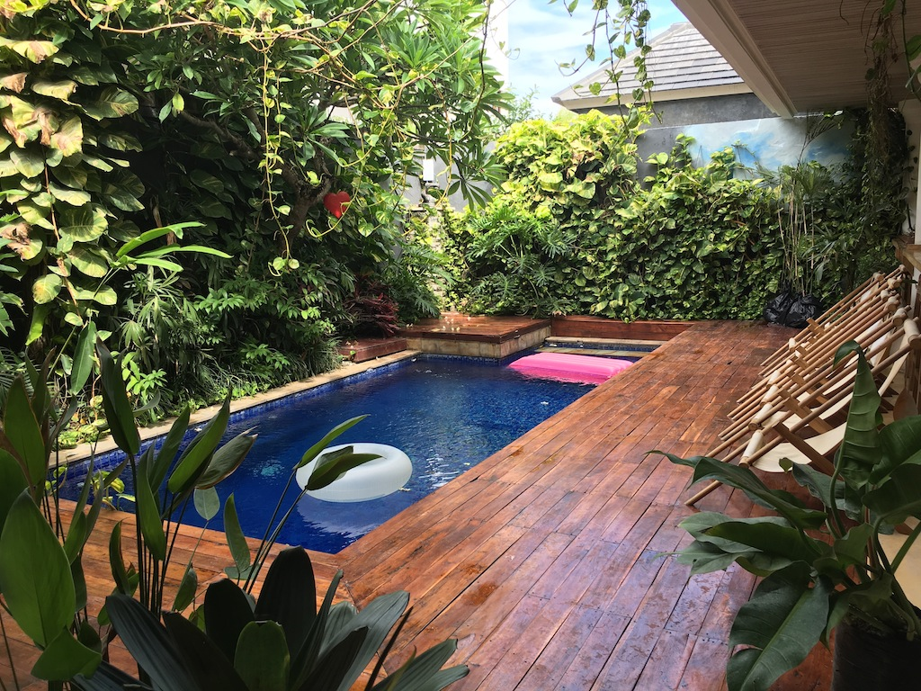 There's a swimming pool complete with inflatables at Canggu co-working space Dojo