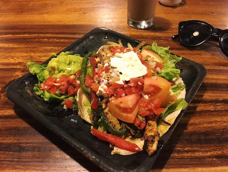 Sizzling fajita dish at Kafe Ubud