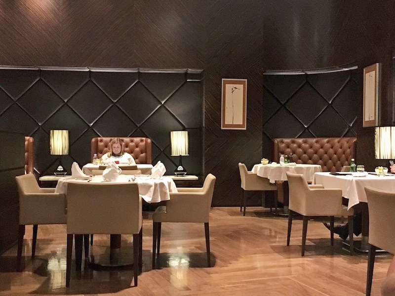 Elegant decor in the dining area of The Private Room at Singapore Airport