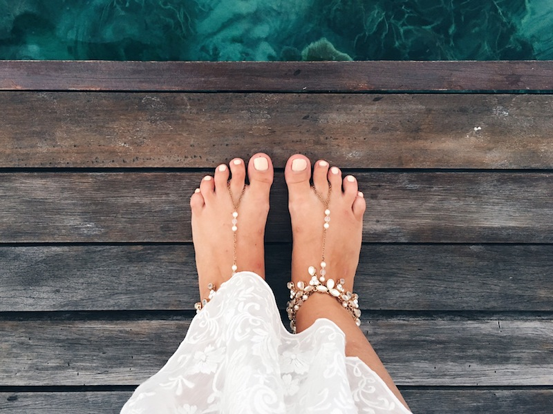 Barefoot sandals in the Maldives