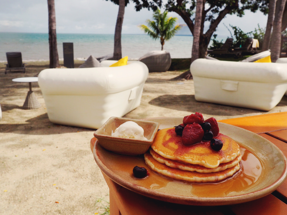 Pancakes on the beach at Waitui Beach Club Fiji