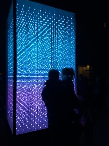 The streets and walkways are dotted with interactive exhibits