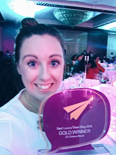 Looking rather estatic about my win for Best Luxury Blog at TBCAsia