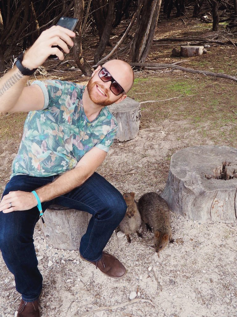 Justin has a go at a quokka selfie