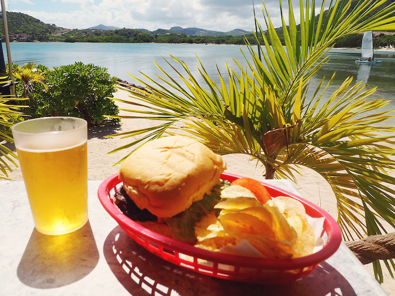 Burger and beer on the beach at Mamora Grill