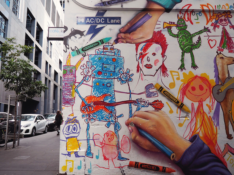 Street art in ACDC Lane Melbourne - Budget Guide To Melbourne