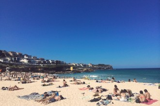 Sunbathers on Bronte Beach