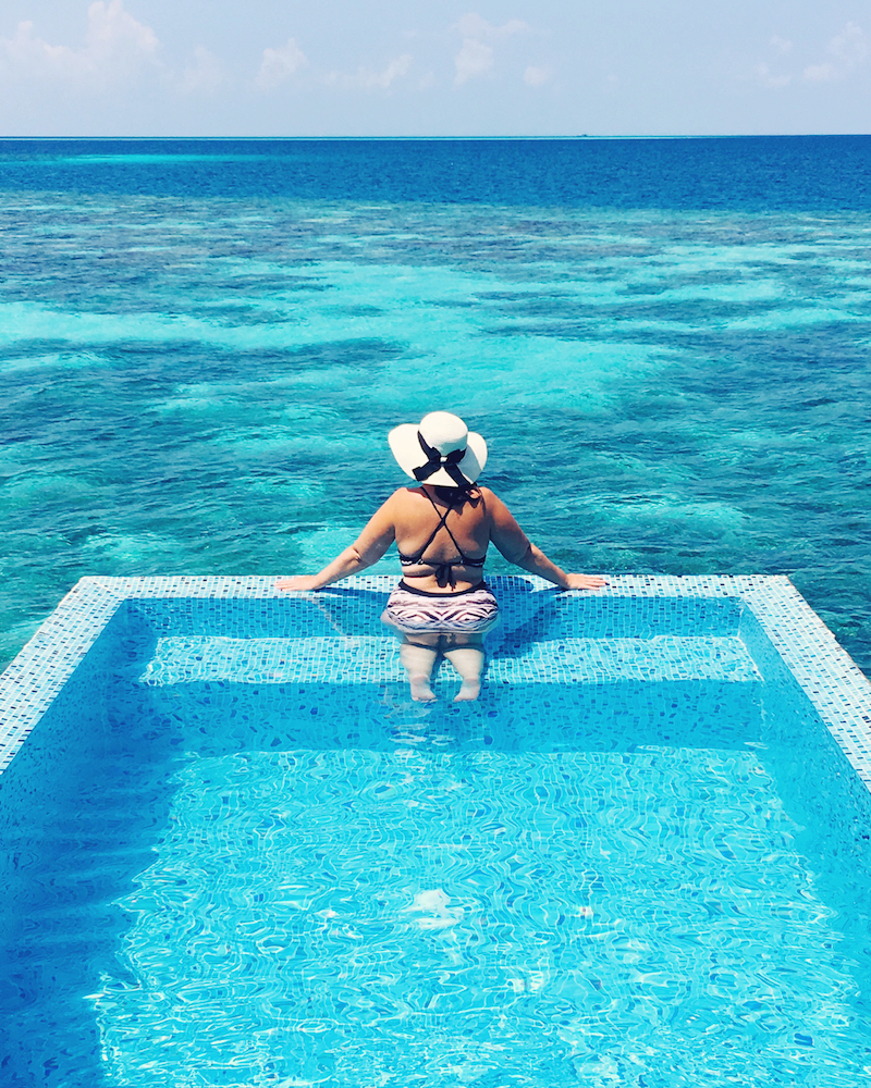 Soaking up the view from our private pool
