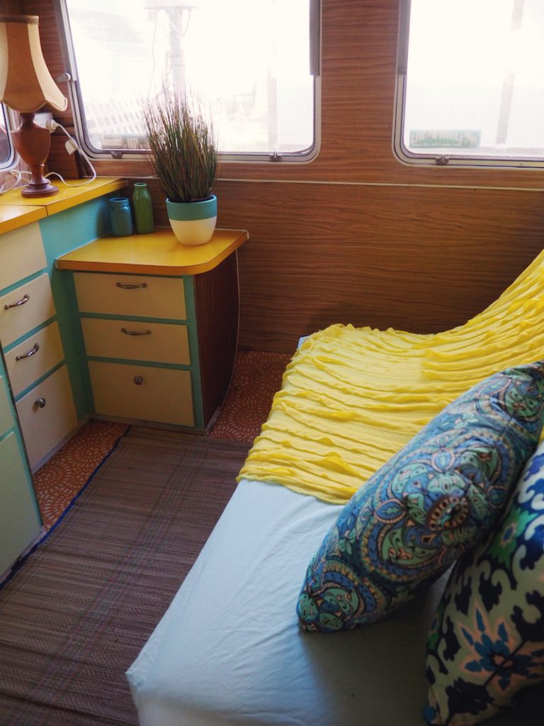 Retro glam caravan at Kanasta Caravan Park in Rye