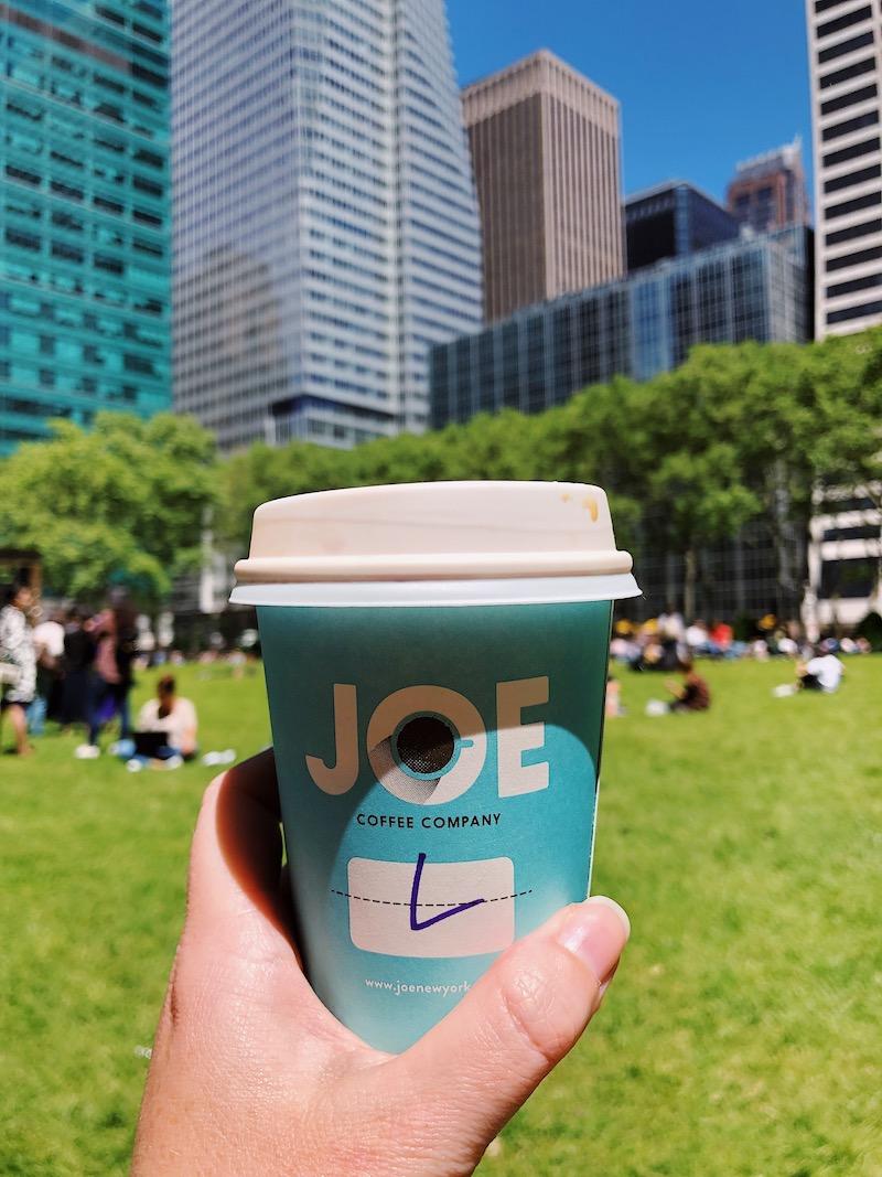 Joe Coffee Company in Byrant Park NYC