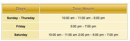 Tour schedule for Sheikh Zayed Grand Mosque