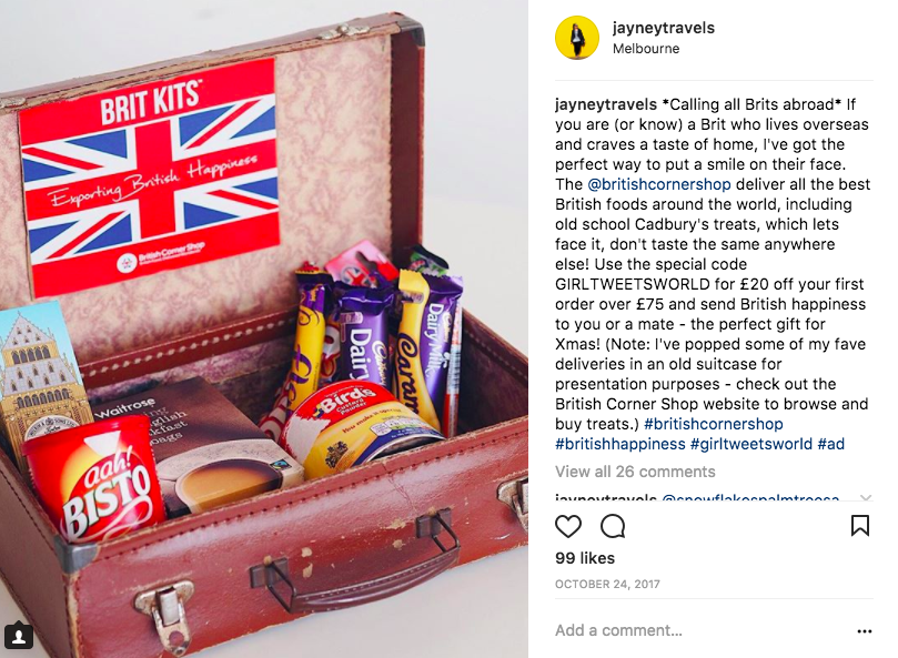 British Corner Shop Sponsored Instagram Post
