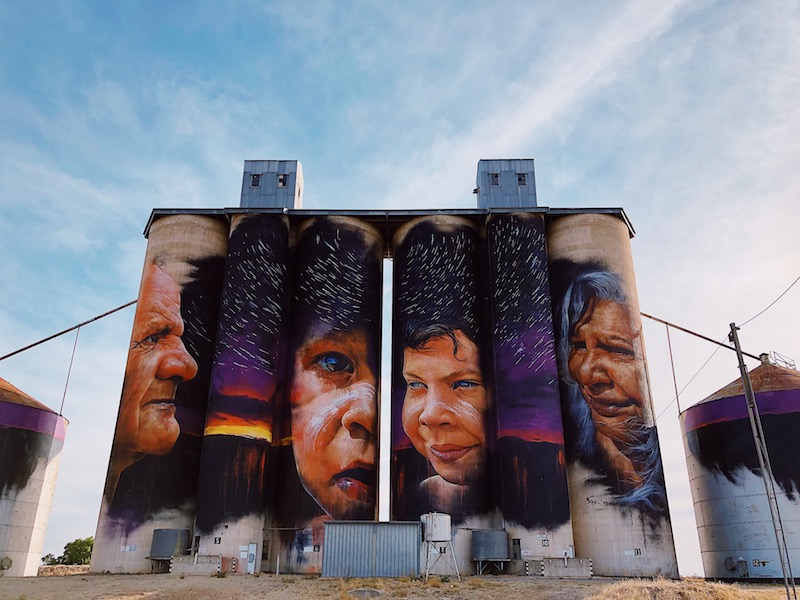 Adnate mural in Sheep Hills, Silo Art Trail