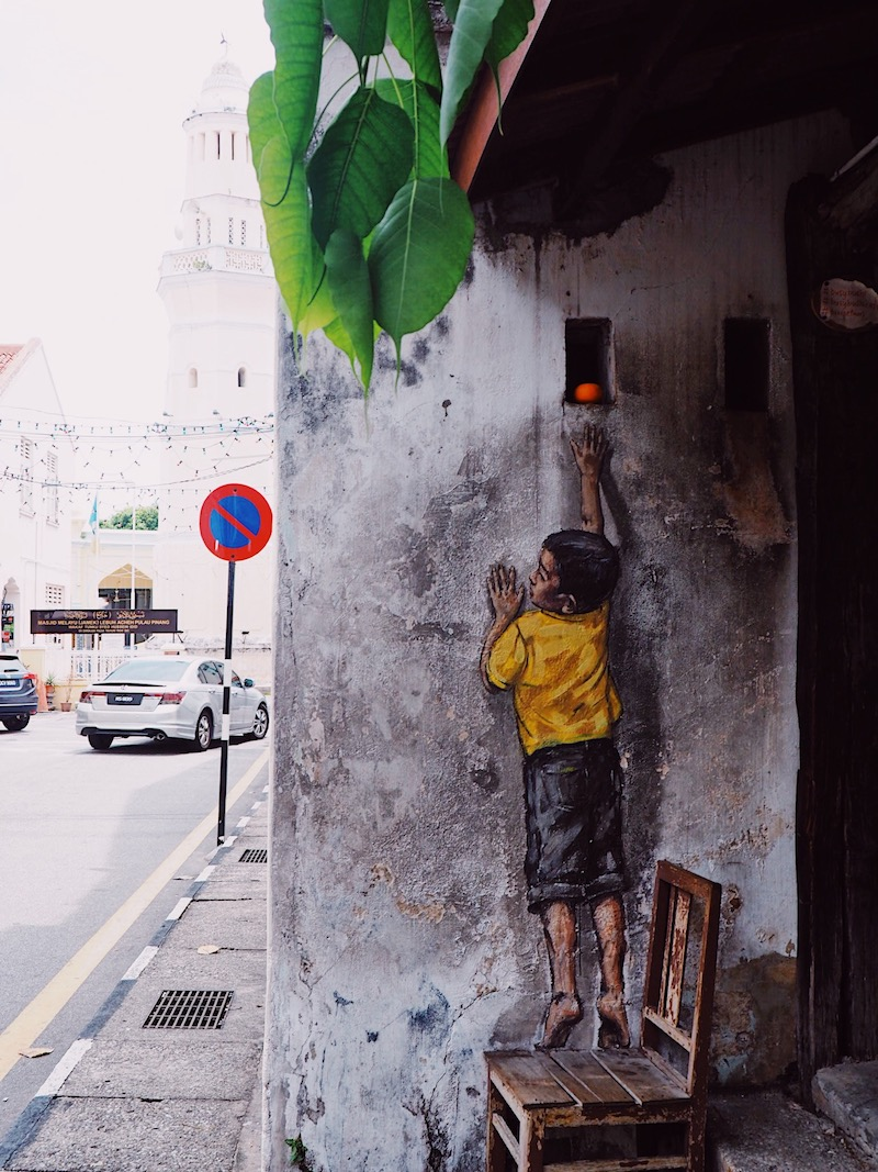 Ernest Zacharevic mural in Penang